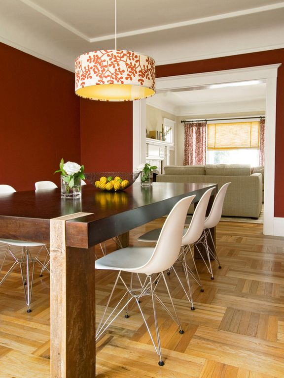 Modern Dining Room with Eames molded fiberglass wire-base side chair (dfsr), Solid wood parsons dining table, Paint