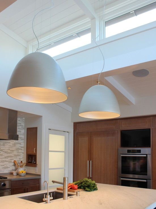 Contemporary Kitchen with French doors, Kitchen island, Crown molding, Pendant light, Exposed beam, High ceiling, L-shaped