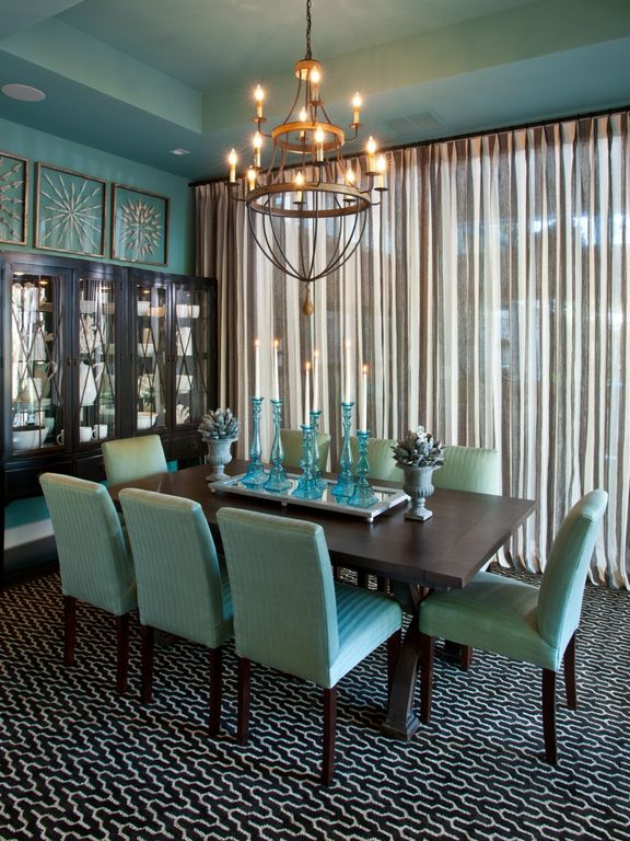 Contemporary Dining Room with Built-in bookshelf, Carpet, Sea Glass Pillar Candle Holder, Box ceiling, Chandelier, Paint