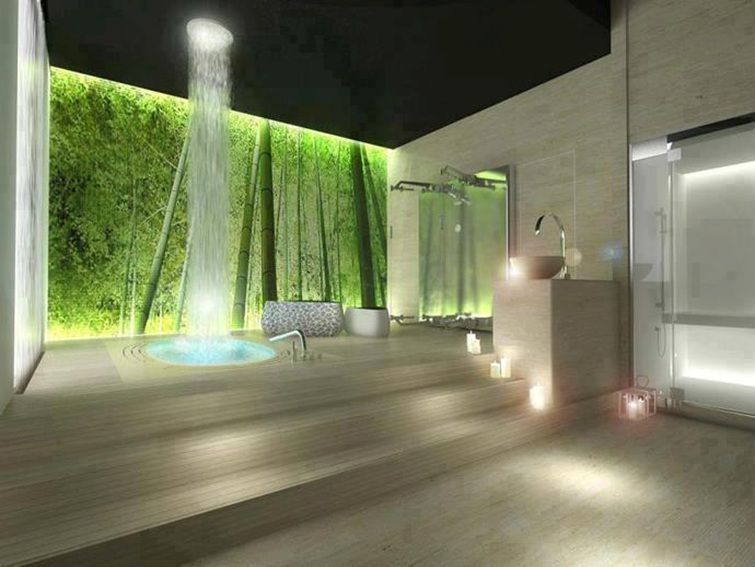 Contemporary Master Bathroom with picture window, Bamboo forest wall mural, Standard height, travertine floors, Shower