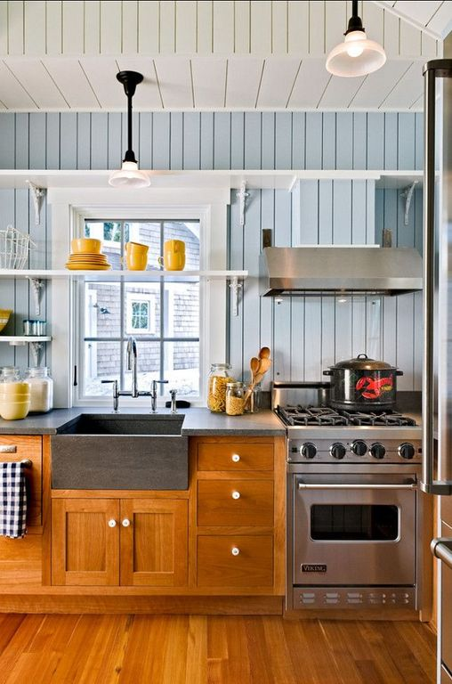 Cottage Kitchen with Inset cabinets, Farmhouse sink, Flat panel cabinets, High ceiling, Casement, gas range, L-shaped