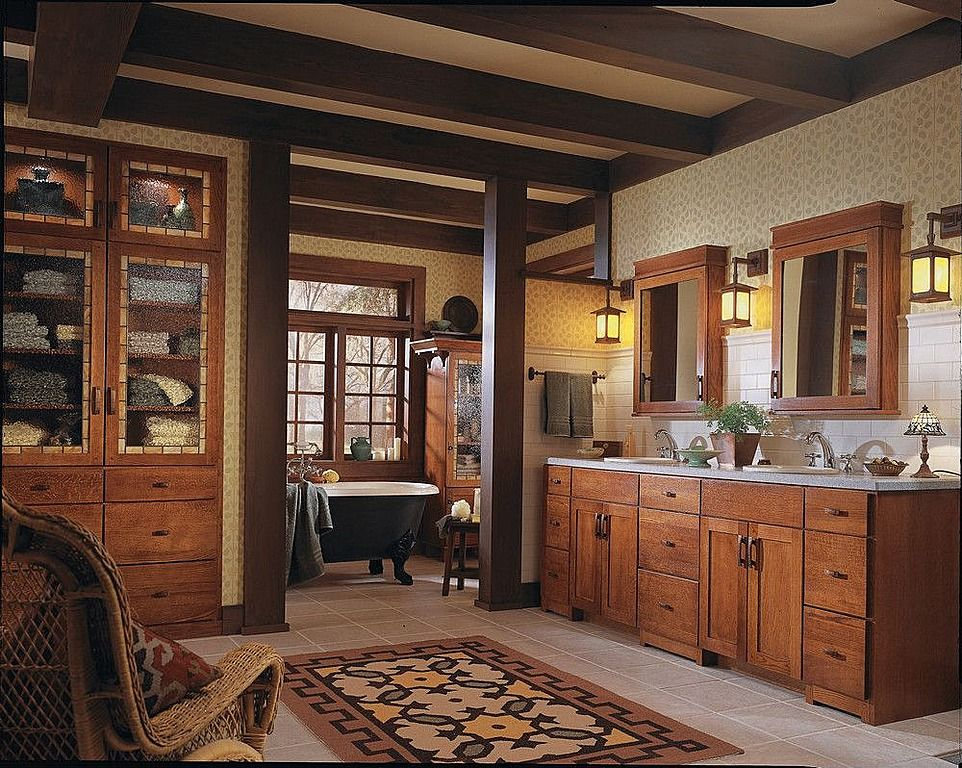 Craftsman Master Bathroom with Double sink, Rejuvenation clawfoot tub with black exterior, Flat panel cabinets, Glass panel