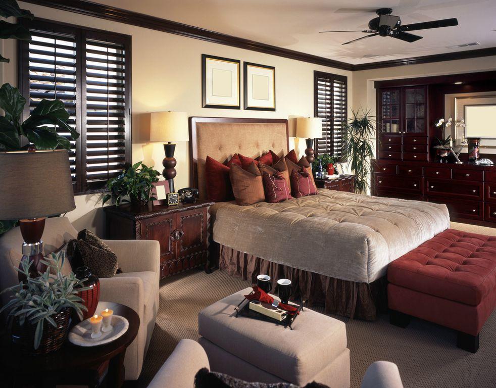 Craftsman Master Bedroom with Carpet, Standard height, Built-in bookshelf, can lights, Casement, Ceiling fan, Crown molding