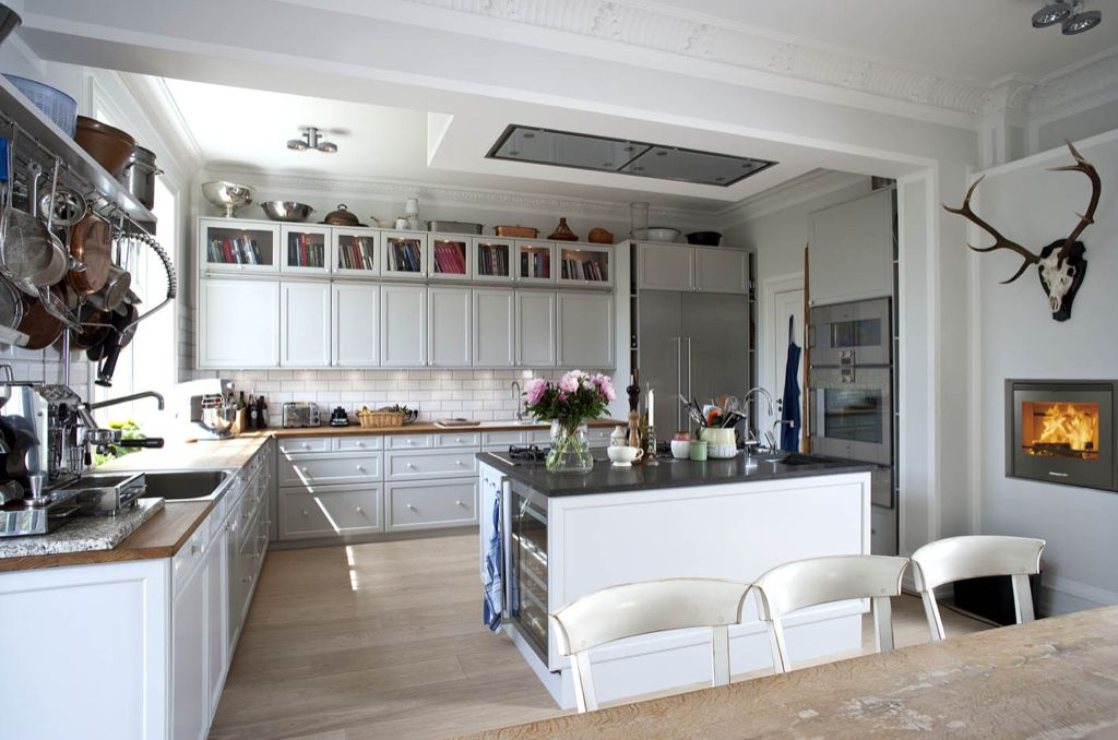 Eclectic Kitchen with Flat panel cabinets, Cochrane, Soapstone counters, Wine refrigerator, flush light, Vintage Deer Skull