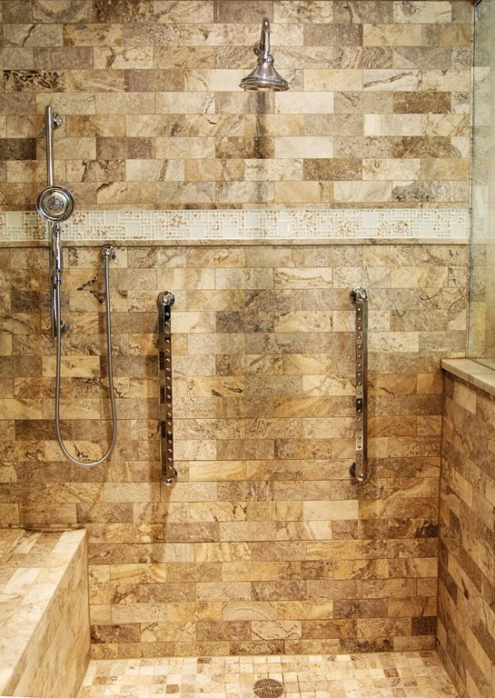 Rustic Master Bathroom with Shower system rain bars, Adora Mosaics - Metal Mosaic in Stainless Steel