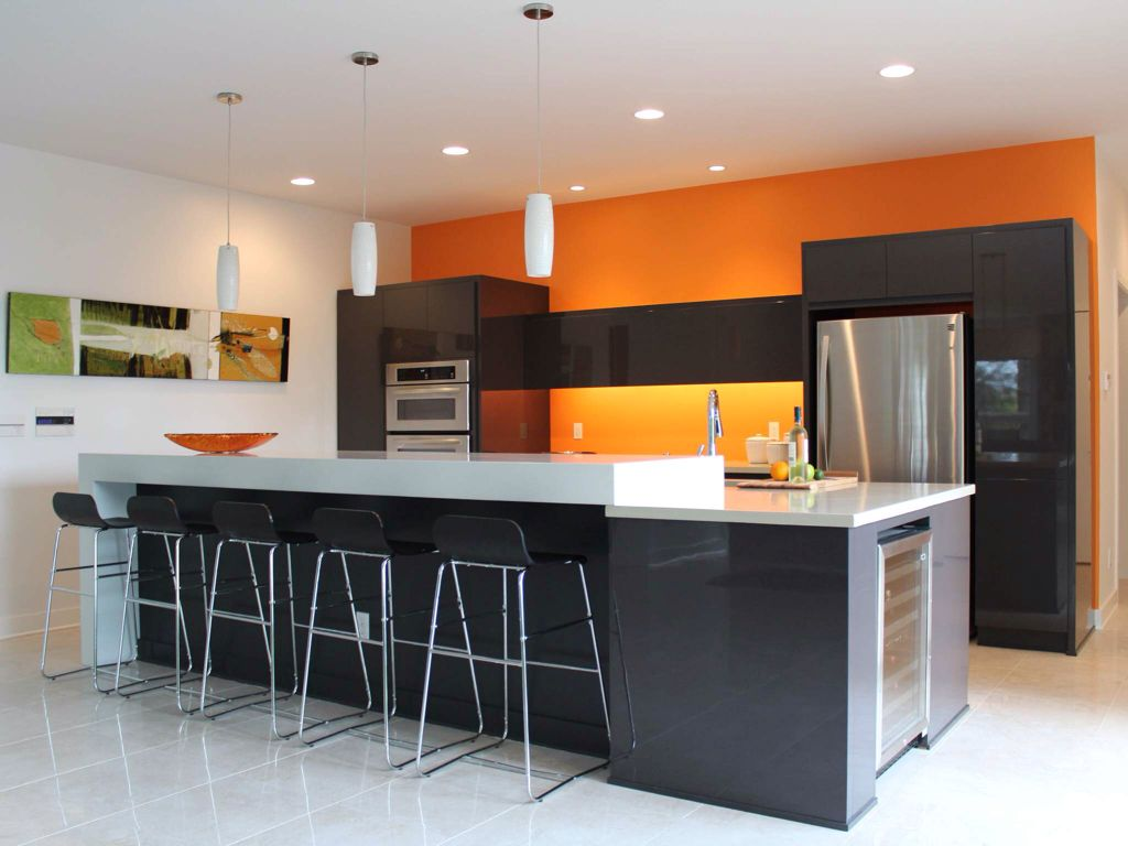 Contemporary Kitchen with Paint 1, Concrete tile , Catifa 46 low back stool, Pendant light, Flush, can lights, Breakfast bar