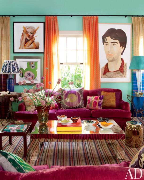Eclectic Living Room with Standard height, Carpet
