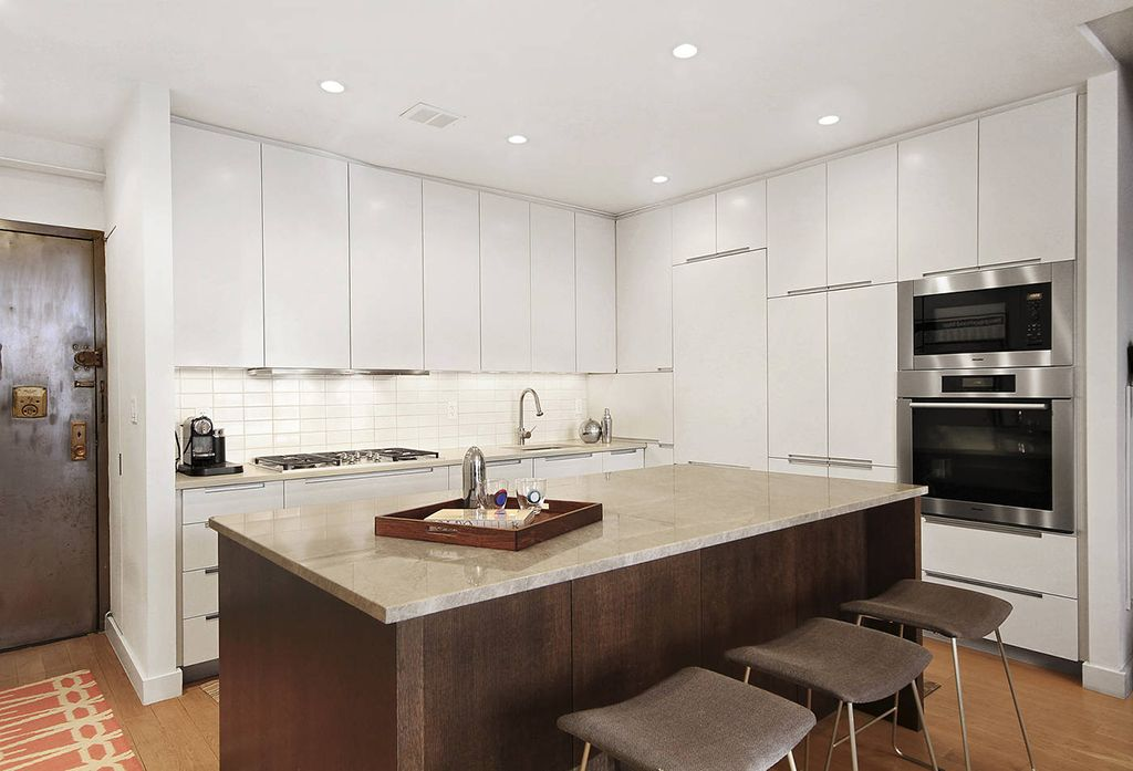 Modern Kitchen with flat door, Built In Panel Ready Refrigerator, European Cabinets, Standard height, Large Ceramic Tile