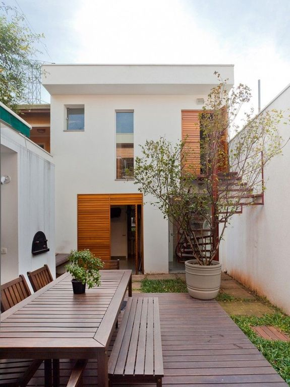 Contemporary Patio with Fence, Pathway, picture window