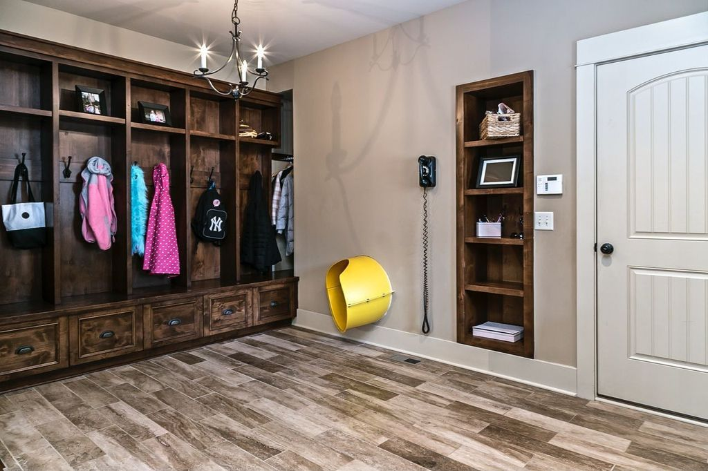 Traditional Mud Room with Built-in bookshelf, Martha Stewart Living Mudroom Hutch, Chandelier, Hardwood floors