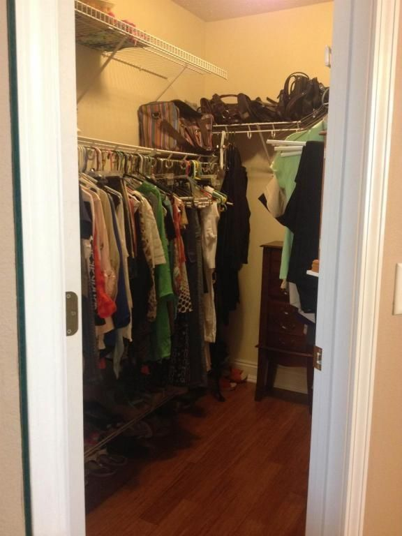 Traditional Closet with Hardwood floors, Closetmaid shelftrack 4-6 ft. closet organizer kit, Built-in bookshelf, Paint 1