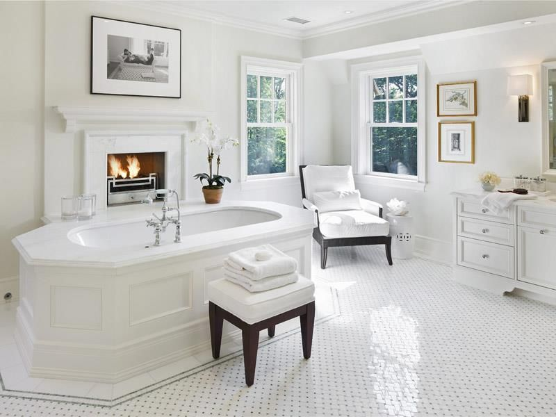 Contemporary Master Bathroom with Flat panel cabinets, Interlocking Pavers, Fireplace, Master bathroom, Paint 1, can lights