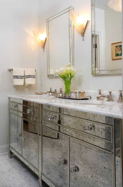 Traditional Master Bathroom with Inset cabinets, Art Deco Wall sconce, Paint 1, Carrara Marble Double bowl vanity top