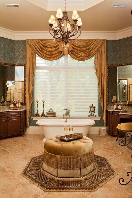 Traditional Master Bathroom with Bathtub, Crown molding, interior wallpaper, Complex granite counters, Complex Granite, Flush
