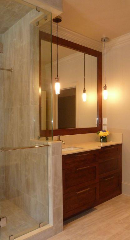 Contemporary Master Bathroom with three quarter bath, Travertine counters, Undermount sink, Pendant light, Crown molding