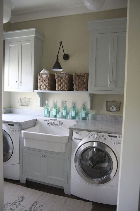 Traditional Laundry Room with Oregon Tile & Marble White Carrara Marble, 20th c. library double sconce, Farmhouse sink