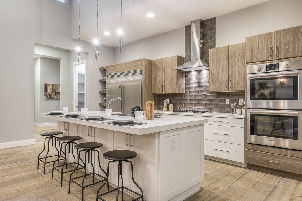 """Modern Kitchen with Bosch 30"""" Double Wall Oven Benchmark? Series - Stainless Steel HBLP651UC, Provenza Heirloom Color Dover"""