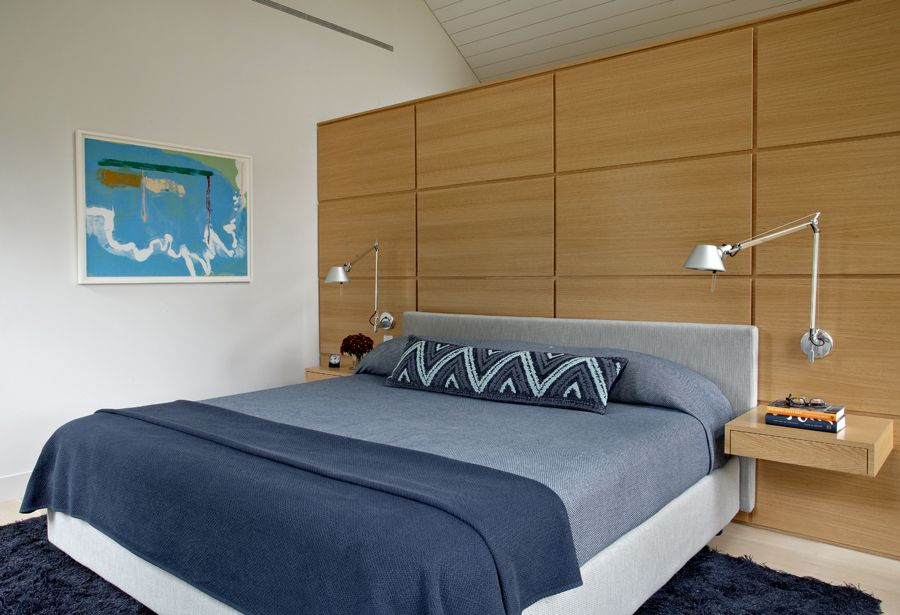 Contemporary Master Bedroom with Paint, High ceiling, Laminate floors, Paintable white beadboard, Floating drawer
