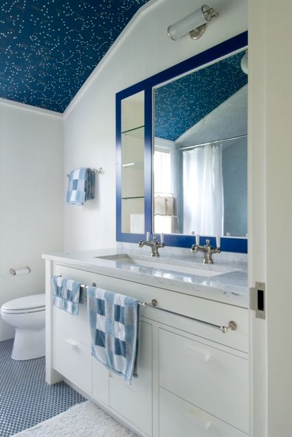 Contemporary Full Bathroom with shower bath combo, High ceiling, Inset cabinets, curtain showerdoor, full backsplash, Shower