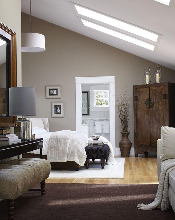 Contemporary Master Bedroom with Pottery Barn Faux Sheepskin Throw, Skylight, Tech Lighting Mini Mulberry White, flush light