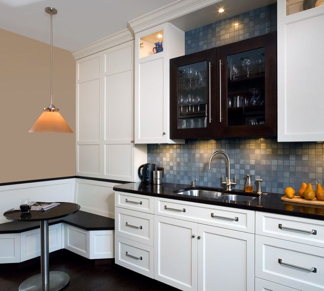 Contemporary Kitchen with Multiple Sinks, Flush, Breakfast nook, can lights, Glass panel, full backsplash, Standard height