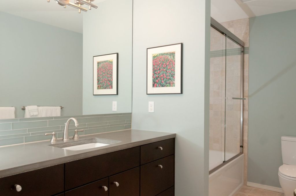Traditional Full Bathroom with Full Bath, Wall Tiles, European Cabinets, framed showerdoor, Paint, Shower, shower bath combo