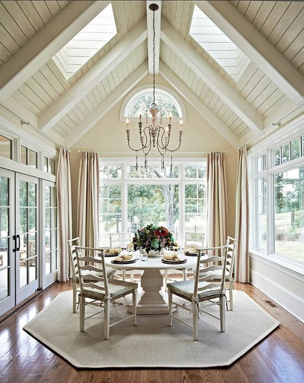 Cottage Dining Room with Exposed beam, Hardwood floors, French doors, Standard height, Paula deen home paula's dining table