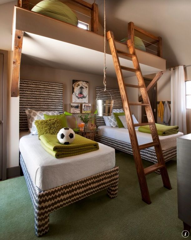 Contemporary Kids Bedroom with Ladder, specialty door, Paint, Vaulted ceiling, picture window, Fabric curtains, Carpet, Loft
