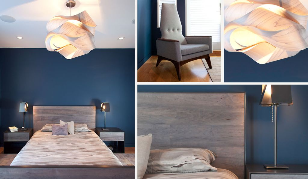 Contemporary Master Bedroom with Hardwood floors, specialty window, can lights, Standard height, Chandelier, flush light
