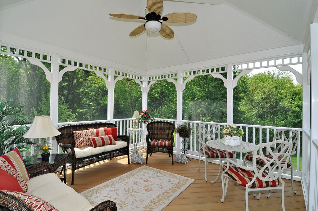 Country Deck with Azteca settee, Deck Railing, picture window, Dayak armchair