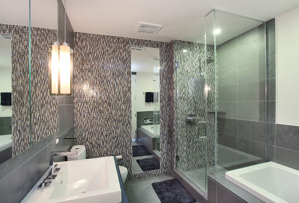 Contemporary Master Bathroom with Glass mosaic floor and wall tile, Ceramic floor and wall tile, Bathtub, Wall Tiles, Shower