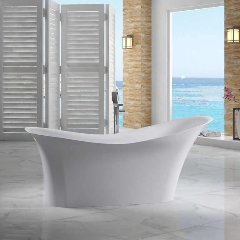 Contemporary Master Bathroom with Modern freestanding slipper bathtub, Free standing tub filler