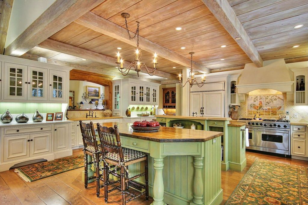 Country Kitchen with Chandelier, Standard height, Paint 2, Raised panel, Exposed beam, Undermount sink, Inset cabinets