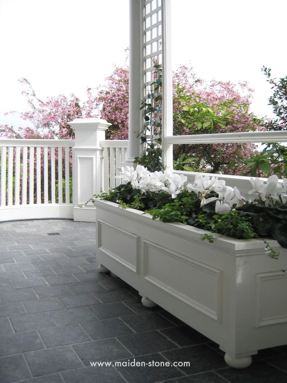 Traditional Porch with Planter box, Belgian blue limestone floor