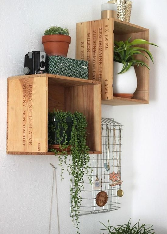 Eclectic Living Room with 3 floating solid wood display box shelves, Letter wire desk tray