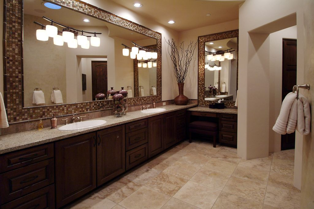 Mediterranean Master Bathroom with drop-in sink, Specialty Tile, three quarter bath, can lights, Paint 1, Double sink, Flush