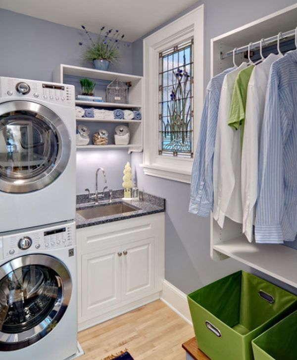Traditional Laundry Room with Target - room essentials medium storage bin green, Paint, Undermount sink, Hardwood floors