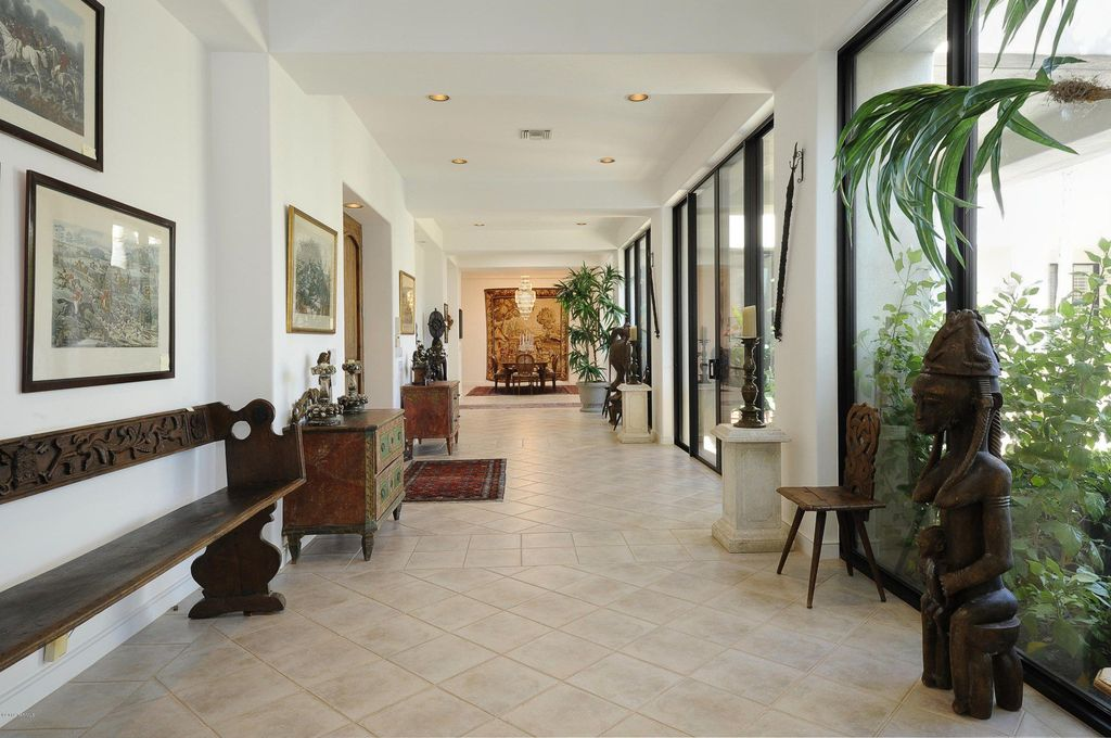 Eclectic Hallway with travertine tile floors, Standard height, can lights, stone tile floors, Exposed beam, French doors