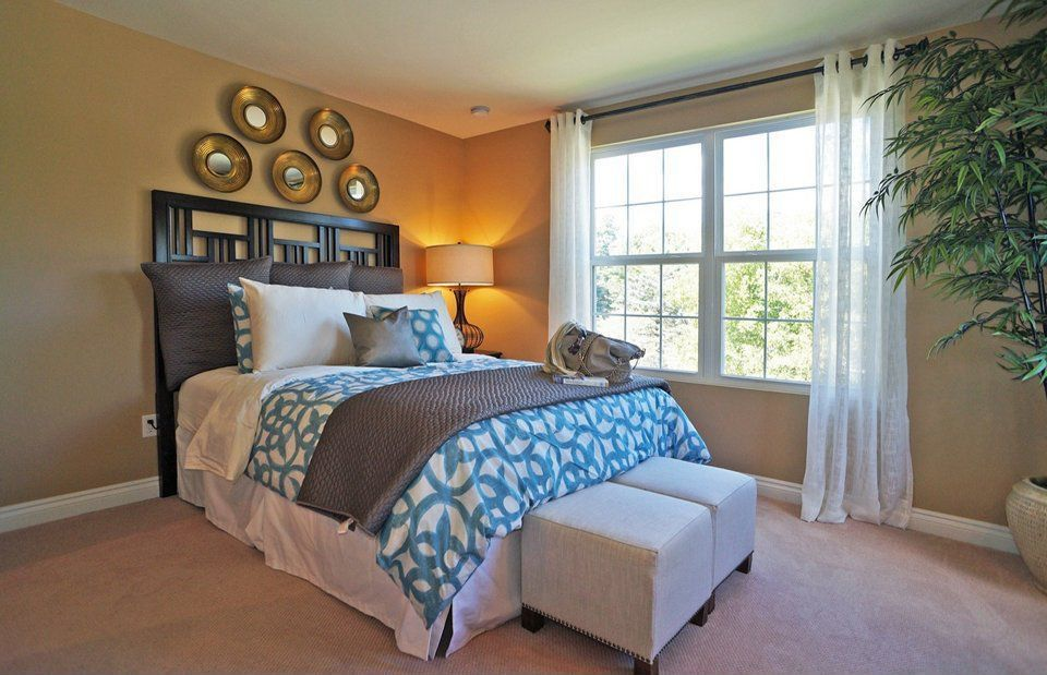 Contemporary Guest Bedroom with double-hung window, Carpet, Standard height