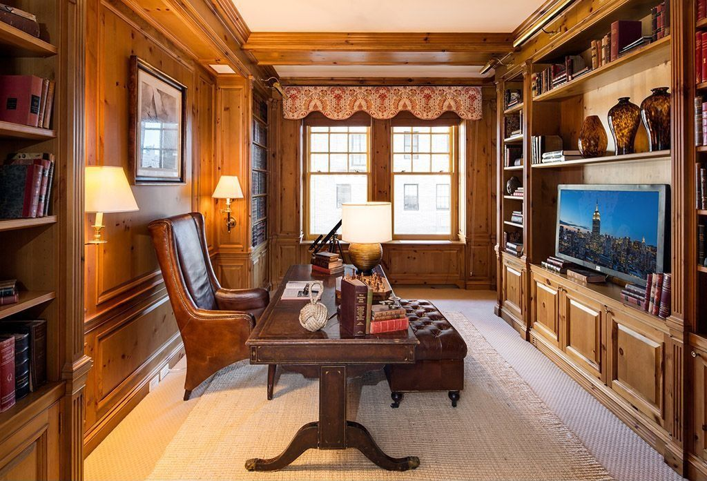 Craftsman Home Office with bedroom reading light, Standard height, Carpet, Crown molding, Built-in bookshelf, Wainscotting