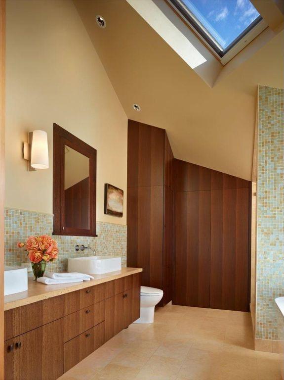 Contemporary Master Bathroom with Bathtub, Vessel sink, Master bathroom, Skylight, Double sink, European Cabinets, Flush