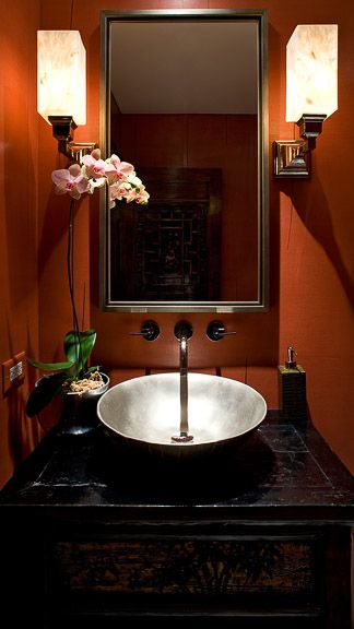 Asian Powder Room with Standard height, Wall sconce, Vessel sink, Powder room, specialty door, Wood counters