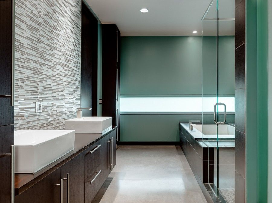 Contemporary Master Bathroom with Master bathroom, Shower, European Cabinets, frameless showerdoor, Vessel sink, can lights