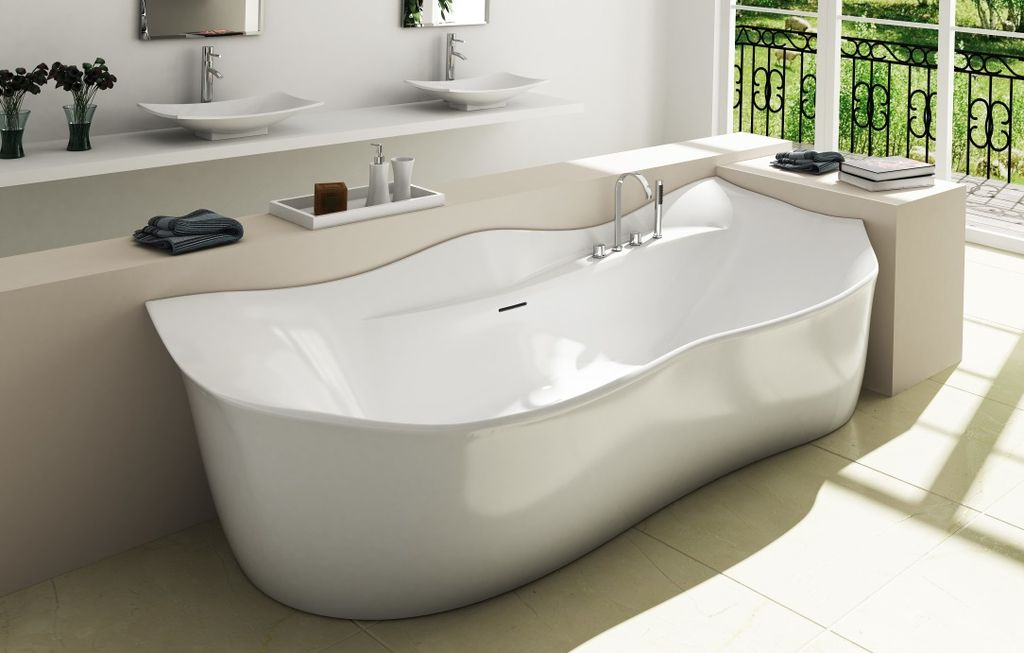 Contemporary Master Bathroom with Vessel sink, Freestanding, Double sink, Standard height, picture window, Master bathroom