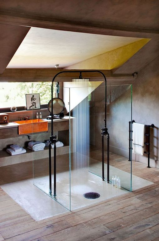 Modern 3/4 Bathroom with Hansgrohe raindance C shower head with 12 inch spray face, picture window, Rain shower, High ceiling