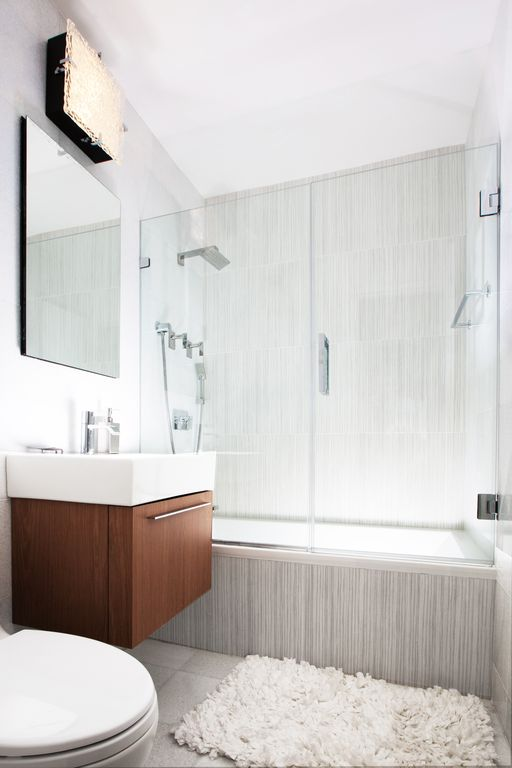 Contemporary Master Bathroom with shower bath combo, Paint 1, wall-mounted above mirror bathroom light, Shower, Full Bath