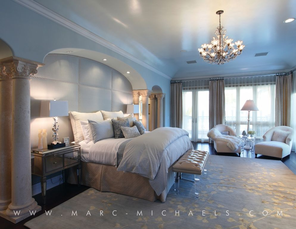 Traditional Master Bedroom with Crown molding, picture window, Paint, Chandelier, Columns, Paint 2, Laminate floors