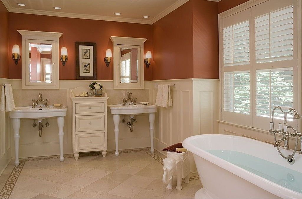 Craftsman Master Bathroom with stone tile floors, Mexican tile, Bathtub, Master bathroom, Standard height, Wainscotting