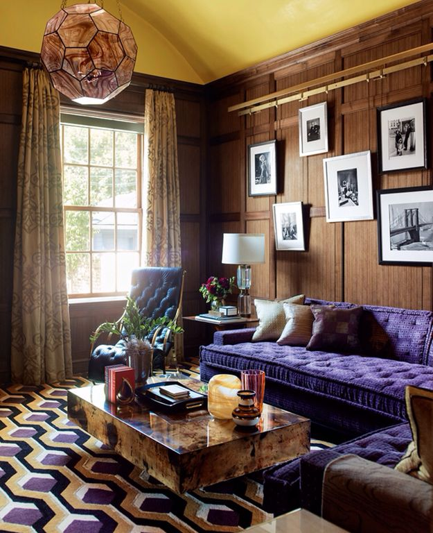 Eclectic Living Room with Carpet, Chandelier, Crown molding, Standard height, double-hung window