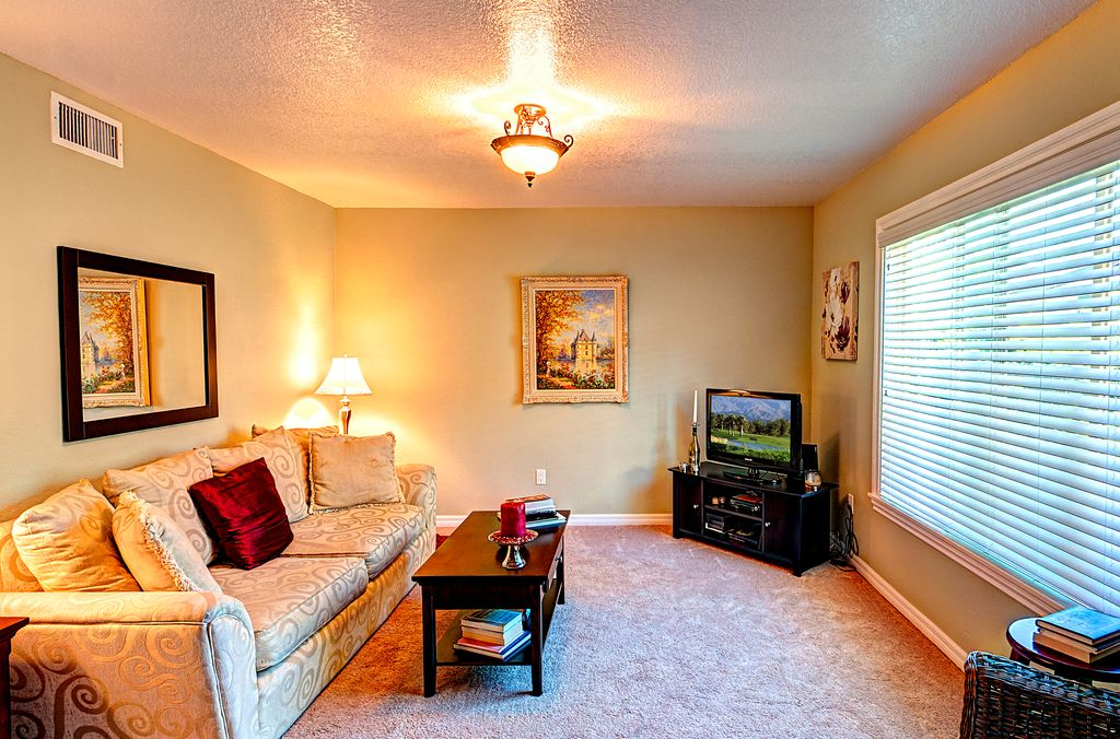 Traditional Living Room with flush light, Carpet, Standard height